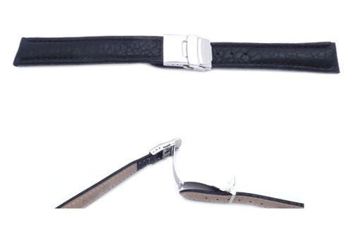 Black Textured Leather Long Watch Strap with Deployment Buckle