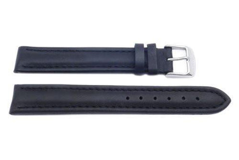 Black Smooth Padded Leather Extra Long Watch Band