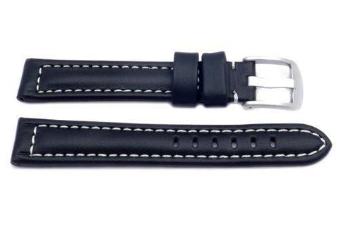 Black Smooth White Stitched Leather Long Watch Strap