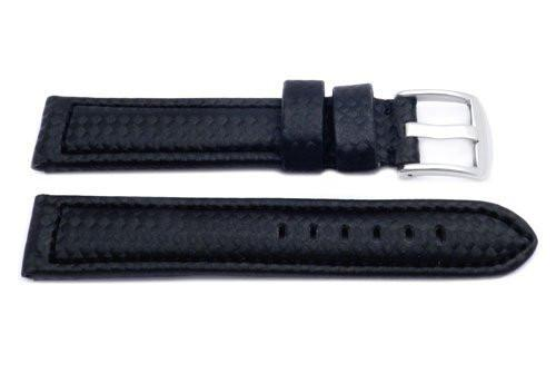 Black Leather Carbon Fiber Style Long Watch Band