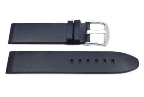 Black Smooth Leather Wide Padded Watch Strap
