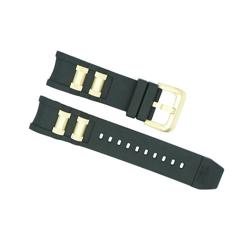 invicta 26mm black and shiny gold russian diver strap