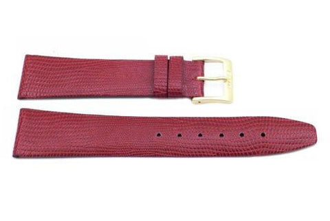 Red Genuine Leather Lizard Grain Watch Strap