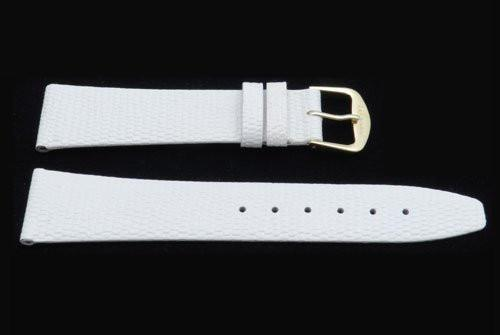 White Genuine Leather Lizard Grain Watch Band