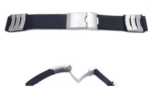 Black Rubber Citizen Style Watch Band With Deployment Buckle