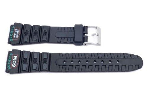 Black Casio Style Sporty 20mm Watch Band P3067