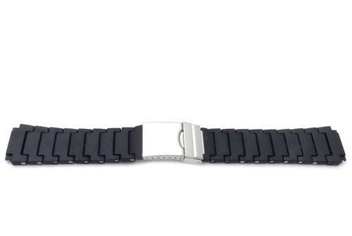Black Resin PVD Style Watch Strap With Deployment Buckle