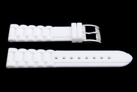 Fossil White Link Style Silicone 18mm Watch Strap