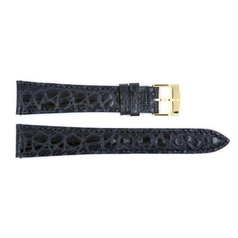 Genuine Movado Alligator Grain Calfskin Leather Black 18mm Watch Band