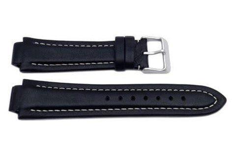 Swiss Army Black Leather Peak II Watch Strap