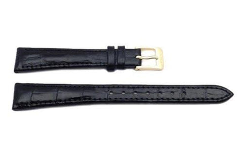 Seiko Black Leather Alligator Grain Watch Band