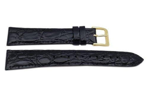Seiko Black Leather Crocodile Grain Watch Strap