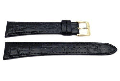 Seiko Black Leather Alligator Grain 20mm Long Watch Band
