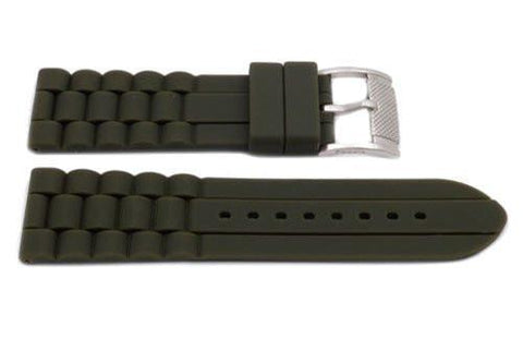 Fossil Olive Silicone Link Style 24mm Watch Band