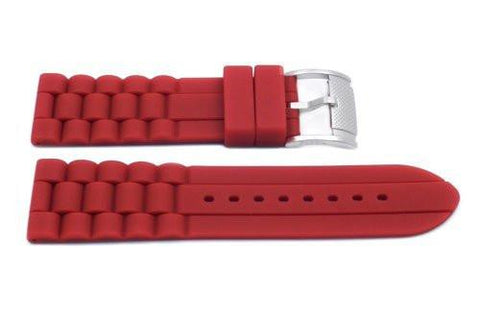 Fossil Red Silicone Link Style 24mm Watch Strap