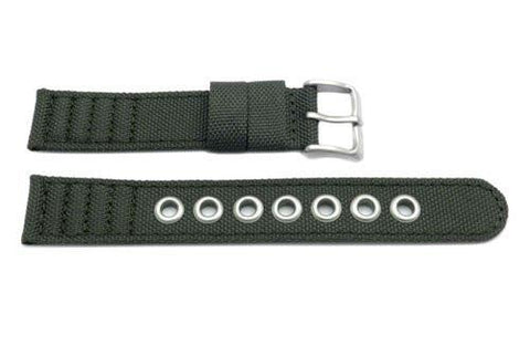 Genuine Citizen Olive Nylon and Leather Eco-Drive 18mm Watch Strap