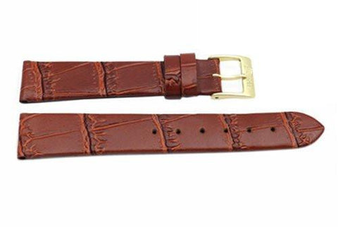 Brown Alligator Grain Leather Short Watch Band