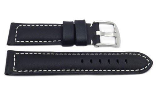 Black Smooth White Stitched Waterproof Leather Watch Band