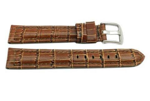 Brown Alligator Grain Stitched Extra Long Watch Band
