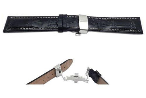 Black Alligator Grain Stitched Long Watch Strap with Deployment Clasp