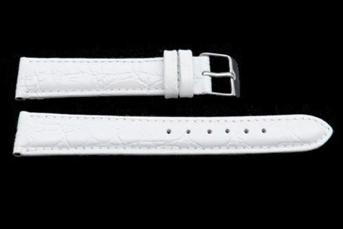 White Crocodile Grain Leather Watch Strap