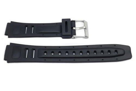 Black Resin Casio Style 17mm B-Y007 Watch Band