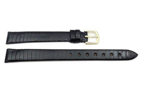 Hadley Roma Black Genuine Round Grain Java Lizard Long Watch Strap