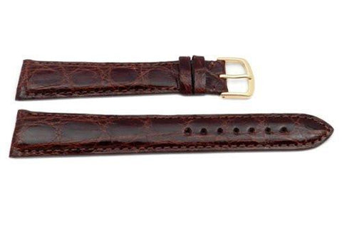 Hadley Roma Long Chestnut Genuine Crocodile Hypo Allergenic Watch Band