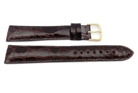 Hadley Roma Long Brown Genuine Crocodile Hypo Allergenic Watch Band