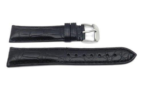 Hadley Roma Black Genuine Alligator Medium Padding Watch Band