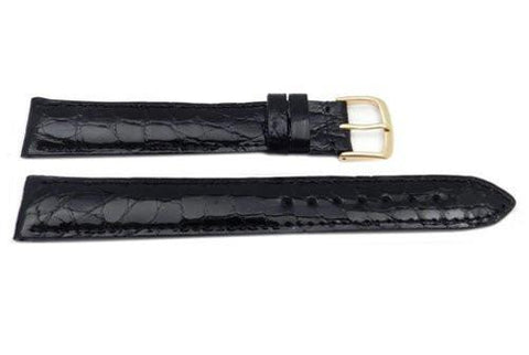 Hadley Roma Long Black Genuine Crocodile Hypo Allergenic Watch Strap
