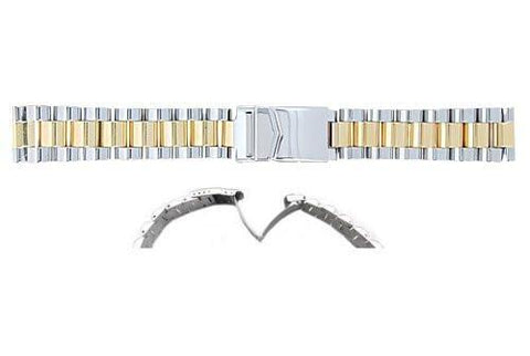 Hadley Roma Mens Dual Tone Solid Link Construction Watch Bracelet