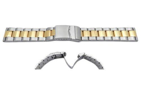 Hadley Roma Rolex Submariner Style Dual Tone Solid Link Watch Bracelet - Straight End