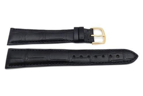 Hadley Roma Genuine Matte Alligator Cartier Style Long Black Watch Band