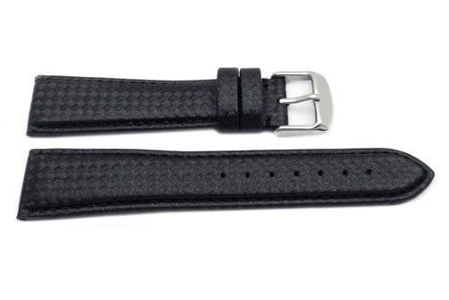 Hadley Roma Black Carbon Fiber Style With Matching Stitching Watch Band