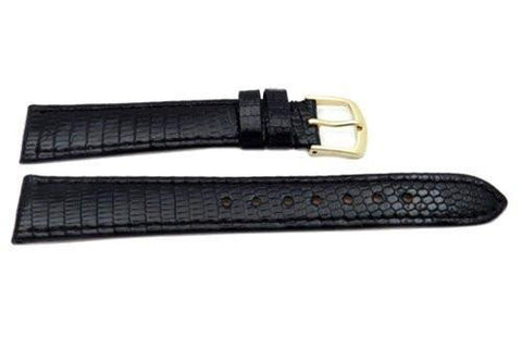Hadley Roma Black Genuine Lizard Flat Thin Watch Strap