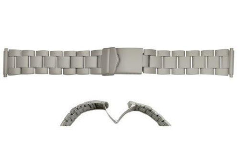 Hadley Roma Brushed Finish Titanium Rolex Oyster Style Watch Bracelet