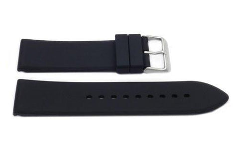 Black Smooth Silicone Pointed Watch Strap