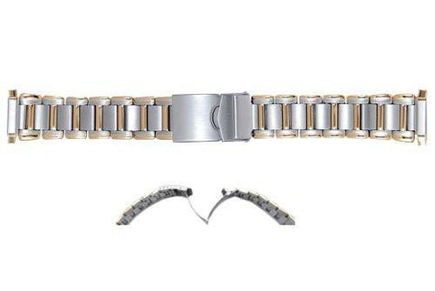 Hadley Roma Mens Brushed and Polished Dual Tone Watch Bracelet