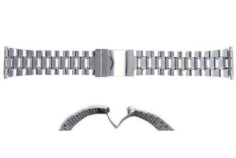 Hadley Roma Mens' Wide Link Silver Tone Stainless Steel Watch Band