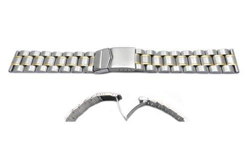 Hadley Roma 20mm Mens Solid Link Construction Dual Tone Watch Bracelet