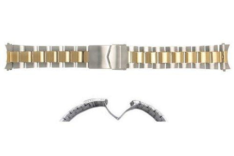 Hadley Roma Brushed Finish Dual Tone Rolex Oyster Style Watch Bracelet