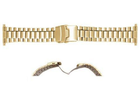 Hadley Roma Mens Stainless Steel IP Gold Plating Watch Bracelet