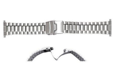 Hadley Roma Mens Brushed Silver Tone Stainless Steel Watch Bracelet