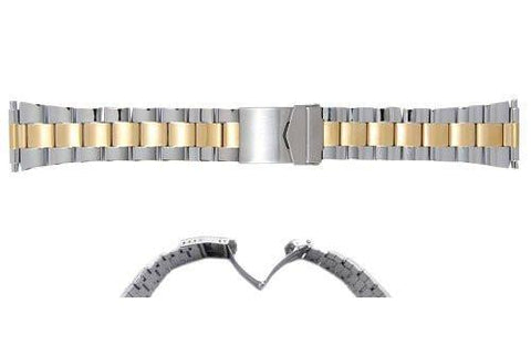 Hadley Roma Mens Wide Link Dual Tone Stainless Steel Watch Bracelet