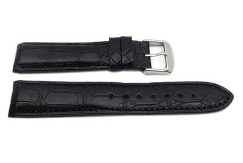 Hadley Roma Mens' Collection Black Genuine Alligator Hypo Allergenic Watch Band
