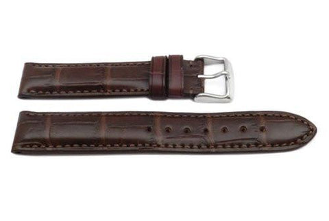 Hadley Roma Brown Mens Genuine Selected Alligator Watch Band
