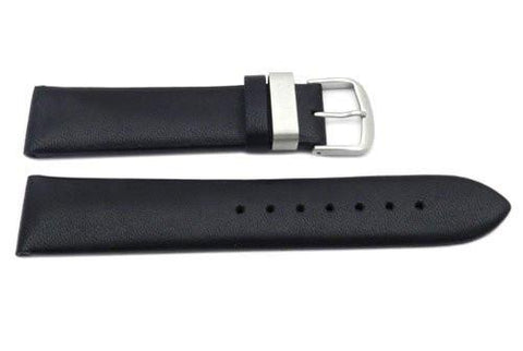 Hadley Roma 20mm Black Genuine Smooth Calfskin Watch Band (Clearance)