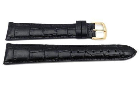 Hadley Roma Black Genuine Italian Calfskin Long Alligator Grain Watch Strap
