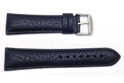 Hadley Roma Men's GenuineTextured Black Leather Watch Band